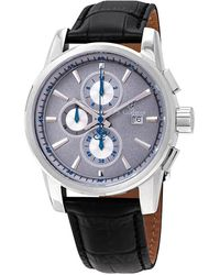 S. Coifman Chronograph Gray Dial Black Leather Mens Watch - Multicolor