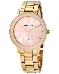 Anne Klein Light Pink Sunray Dial Ladies Watch - Metallic
