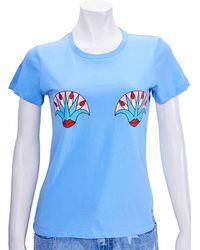 Yazbukey Ladies T-shirt Light Blue Kiss My Lotus T-short Cotn