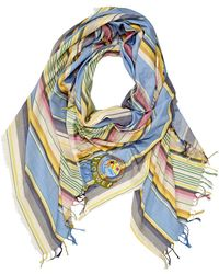 Loewe Cotton-striped Scarf In Blue/green