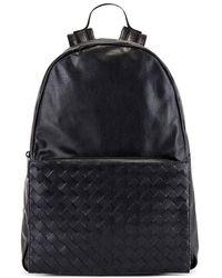 Bottega Veneta Nero / Nero / Ne-ne.opac Mens Intrecciato Weave Panel Backpack - Black