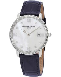 Frederique Constant Slimline Diamond White Mother Of Pearl Dial Ladies Watch -220mpwd3sd6 - Metallic
