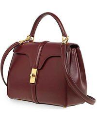 Céline Ladies Burgundy Small 16 Shoulder Bag In Satinated Calfskin - Red