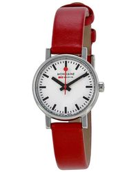 Mondaine Evo Petite White Dial Red Leather Ladies Watch A6583030111sbc