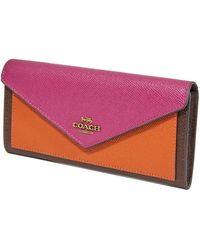 COACH Ladies Colorblock Soft Leather Wallet - Purple