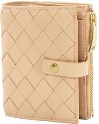 Bottega Veneta Ladies Intrecciato Weave Bi-fold Mini Wallet - Pink