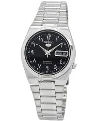 Seiko 5 Automatic Black Dial Stainless Steel Mens Watch - Metallic