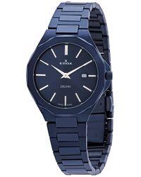 Edox Delfin Quartz Dial Watch  37bum Buin - Blue