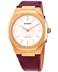 D1 Milano - Ultra Thin Quartz White Dial Ladies Plum Leather Watch - Lyst