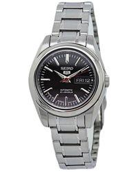 Seiko 5 Automatic Black Dial Ladies Watch - Metallic