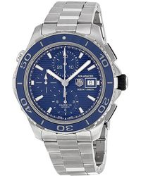Tag Heuer - Pre-owned Aquaracer Chronograph Automatic Blue Dial Mens Watch - Lyst