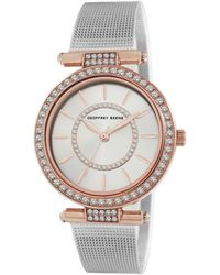 Geoffrey Beene Mesh Quartz Rose Gold Dial Ladies Watch - Metallic