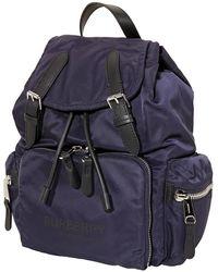 Burberry Medium Logo-print Nylon Backpack - Blue