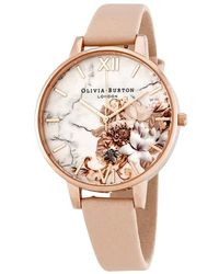 Olivia Burton Marble Floral White Dial Ladies Watch - Pink