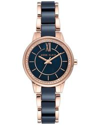 Anne Klein Navy Mother Of Pearl Dial Ladies Watch - Multicolor
