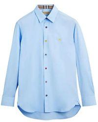 Burberry - Contrast Button Stretch Cotton Shirt - Lyst