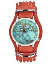 Boum Originaire Turquoise Marbleized Dial Ladies Watch - Red