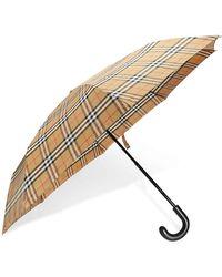 Burberry Vintage Check Folding Umbrella- Antique Yellow/black