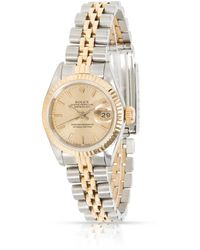 Rolex Pre-owned Oyster Perpetual Automatic Chronometer Champagne Dial Ladies Watch  Csj - Metallic