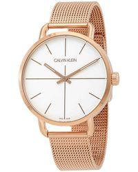 Calvin Klein Even Quartz Silver Dial Ladies Watch - Metallic