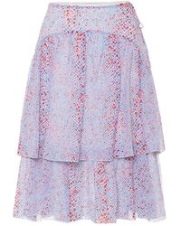 See By Chloé Ladies Double-layer Printed Cotton Silk Skirt, Brand - Purple
