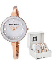 Anne Klein Light Grey Crystal Dial Ladies Watch And Bracelet Set - Gray