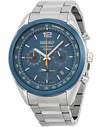 Seiko - Chronograph Blue Dial Stainless Steel Mens Watch - Lyst