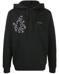 Etudes Studio Mens Black X Keith Haring Klein Embroidered Hoodie, Brand