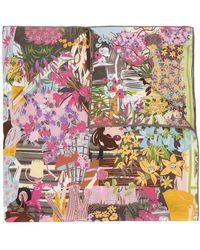 Ferragamo Illustrated Silk Square Scarf - Multicolour