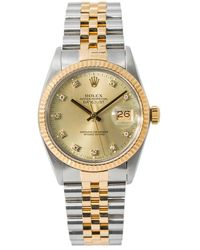 Rolex Pre-owned Datejust Automatic Chronometer Diamond Champagne Dial Mens Watch  Cdj - Metallic