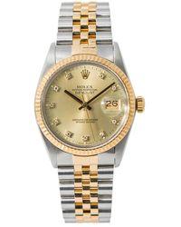 Rolex Pre-owned Datejust Automatic Chronometer Diamond Champagne Dial Mens Watch  Cdj - Metallic