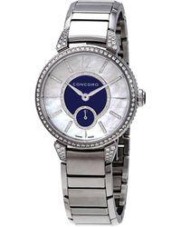 Concord Impresario Diamond Blue And White Mother Of Pearl Dial Ladies Watch - Metallic