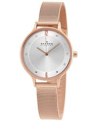 Skagen Anita Silver Dial Rose Gold-tone Ladies Watch - Metallic