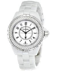 Chanel J12 White 38mm Ceramic Watch With Diamonds Lyst