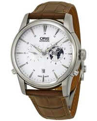 Oris Artelier Gmt Automatic Silver White Dial Brown Leather Mens Watch 690-7690-4081ls