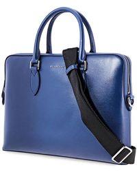 Burberry Mens Briefcase London Leather Dark Blue Slim Briefcase
