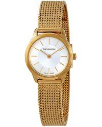 Calvin Klein Minimal Quartz Silver Dial Ladies Watch - Metallic