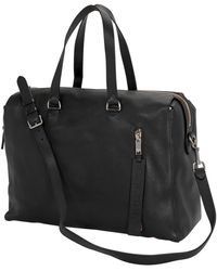 Burberry Embossed Grainy Leather Holdall In Black