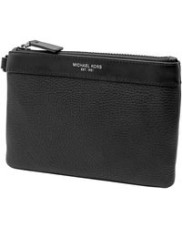 Michael Kors Mens Black Leather Small Travel Pouch