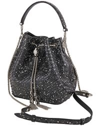 BVLGARI Serpenti Forever Bucket Python Leather Bag- Black