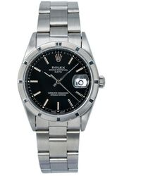 Rolex Pre-owned Oyster Perpetual Date Automatic Chronometer Black Dial Mens Watch  Bkso - Metallic