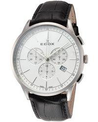 Edox Les Vauberts Chronograph Quartz White Dial Watch  3c Ain - Metallic