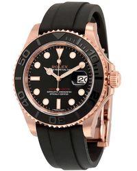 Rolex Yacht-master Automatic Black Dial 18kt Everose Gold Black Rubber Strap Mens Watch bksrs - Multicolor