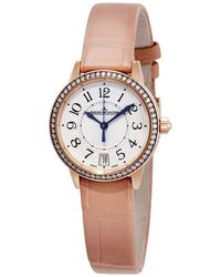 Jaeger-lecoultre Rendezvous 18kt Pink Gold Silver Dial Cream Leather Ladies Watch - Metallic