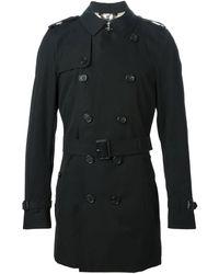 Burberry Mens Kensington Mid Trench Coat - Black