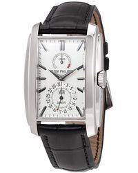 Patek Philippe Gondolo Silver White Dial 18k White Gold Mens Watch -010 - Metallic