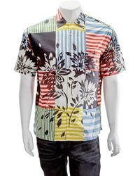 Burberry Mens Short-sleeve Floral Stripe Print Cotton Shirt - Blue
