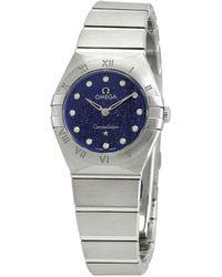 Omega - Constellation Quartz Diamond Blue Dial Watch - Lyst