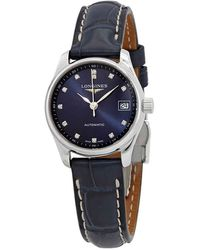 Longines Master Automatic Diamond Blue Dial Ladies Watch