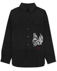 424 Mens Psycho Embroidery Long-sleeve Shirt In Black, Brand